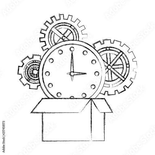 cardboard box clock gears team work hand drawing design