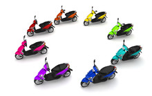 3D Render. Group Of Modern Multicolored Motor Scooters Stands Like Circle Sign Moving From Right To Left. Isolated On White Background. Perspective. Wide Angle