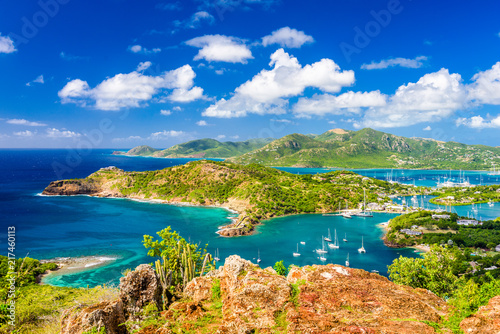 Aluminium Prints Dark blue Shirley Heights, Antigua and Barbuda Island Landscape in the Caribbean.