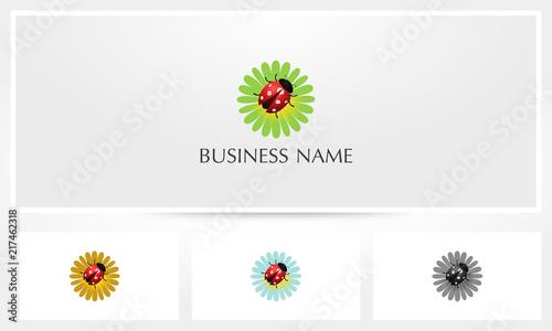 Fototapeta premium Ladybug On Flower Logo