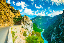 Beautiful Viewpoint Form Biggest Canyon Verdon Gorge Canyon Of The Europe With River And Lake, Provence In France