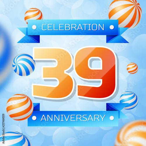 Poster  Realistic Thirty nine Years Anniversary Celebration design banner
