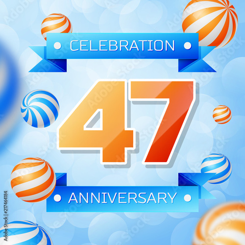 Poster  Realistic Forty seven Years Anniversary Celebration design banner