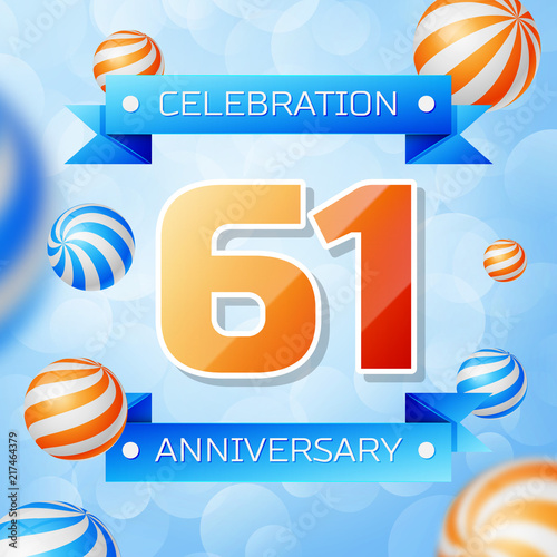 Poster  Realistic Sixty one Years Anniversary Celebration design banner
