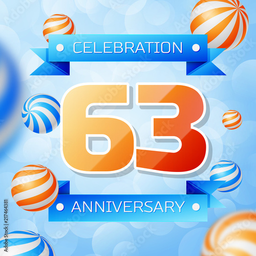 Poster  Realistic Sixty three Years Anniversary Celebration design banner