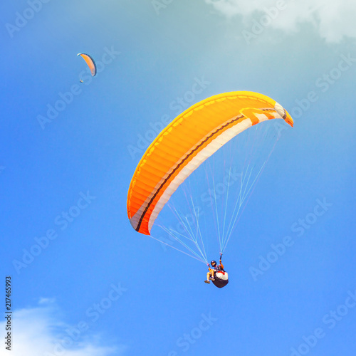 Fotografie, Obraz  Sport paragliding duet extreme fly two