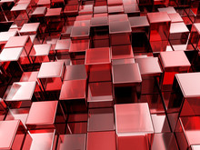 Abstract Red Cubes Background