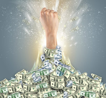 Hand Bursting From A Huge Money Pile