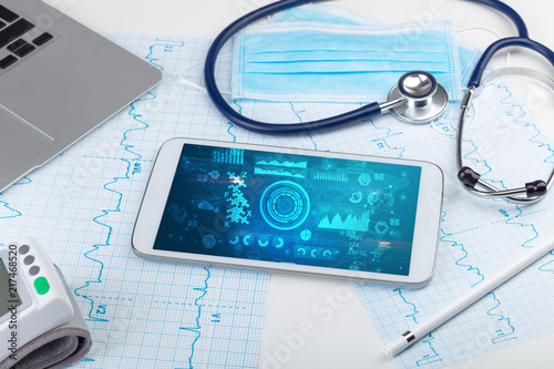 Fotografie, Obraz  Report and cell composition concept with modern medical technology