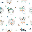 Vector seamless pattern with indian tribal animals faces