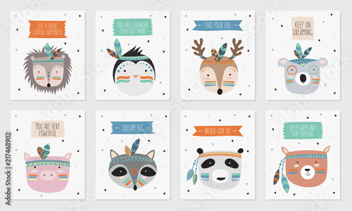 Fototapeta Vector collection of postcards with indian tribal animals faces with motivational slogan obraz