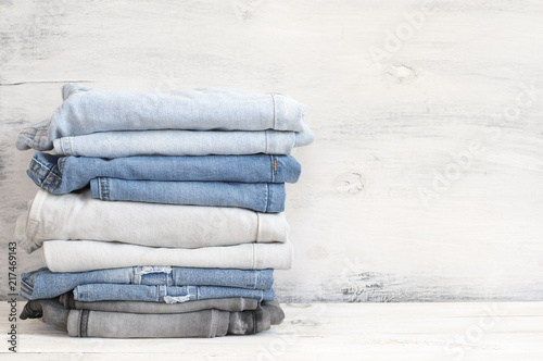 Fotografie, Obraz  Stacked blue and grey jeans