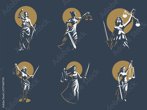 Obraz na plátně The goddess of justice Themis. Set. Vector.