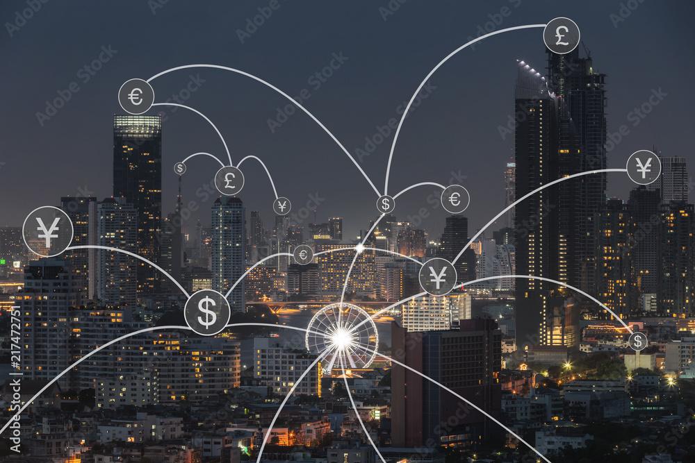 Fototapeta Money transfer icon over cityscape for banking concept background.