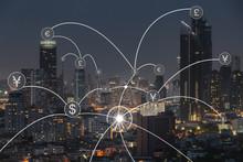Money Transfer Icon Over Citys...