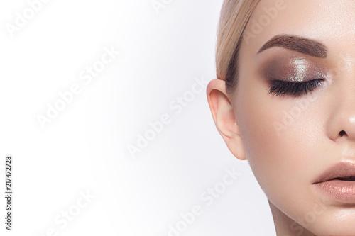 Close-up of woman's lips with fashion natural beige lipstick makeup Billede på lærred