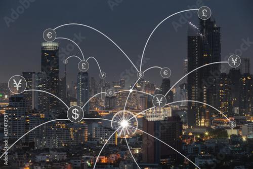 Carta da parati Money transfer icon over cityscape for banking concept background