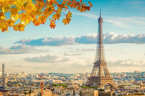 Photo Stands Paris famous Eiffel Tower landmark and Paris old roofs at fall day, Paris France, toned
