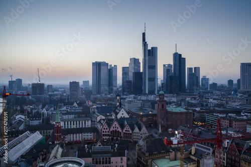 Frankfurt am Main cityscape at dusk