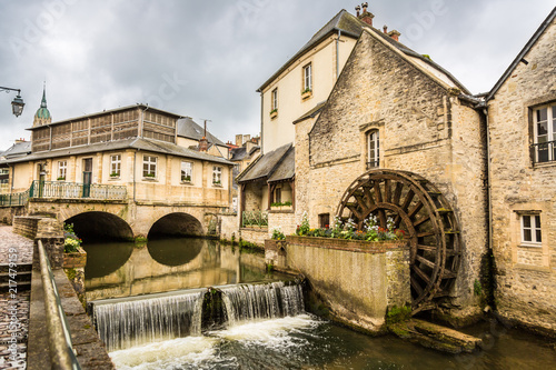 Canvas Print Old French Watermill in Bayeux, France