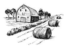 Rural Landscape. Hand Drawn Il...