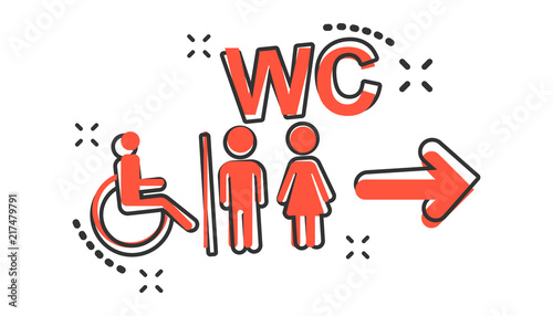 Vector Cartoon WC Toilet Icon In Comic Style Men And Women Adorable Bathroom Sign Vector Style