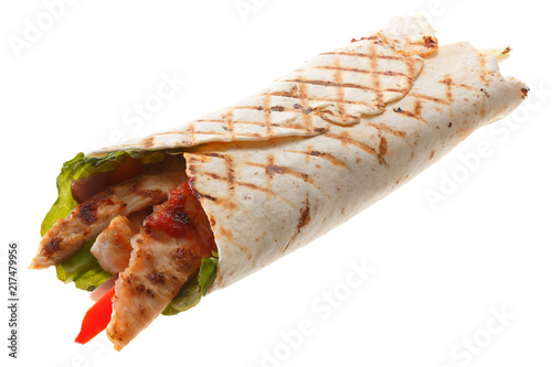 Obraz na plátně The Doner kebab (shawarma) isolated on a white background.
