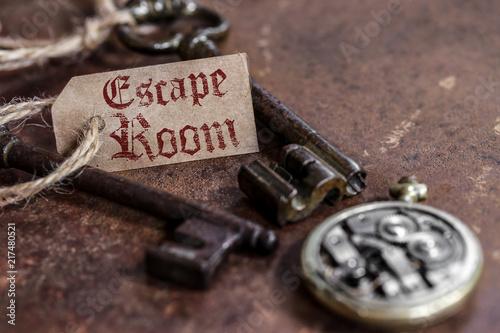 Fotomural  escape room (fond rouille, une étiquette)