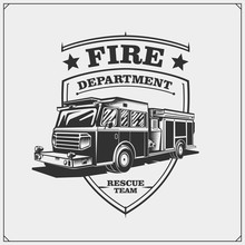 Fire Departments Emblems With Fire Truck.