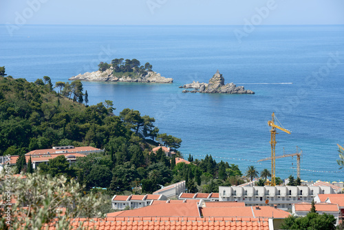 Two beautiful islets in the sea near Petrovac, Montenegro. Poster