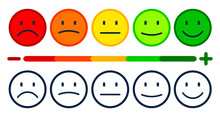 Valuation By Emoticons From Negative To Positive, Set Smiley Emotion, By Smilies, Cartoon Emoticons - Stock Vector
