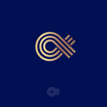 Alpha Logo.  Alpha Emblem. Greek Letter Alpha, Consist Of Gold Lines, Isolated On A Dark-blue Background.