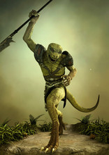Fantasy Reptilian Warrior With A Spear In Its Hand.