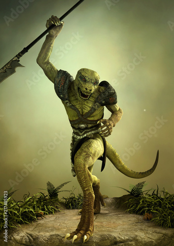 Slika na platnu Fantasy reptilian warrior with a spear in its hand.