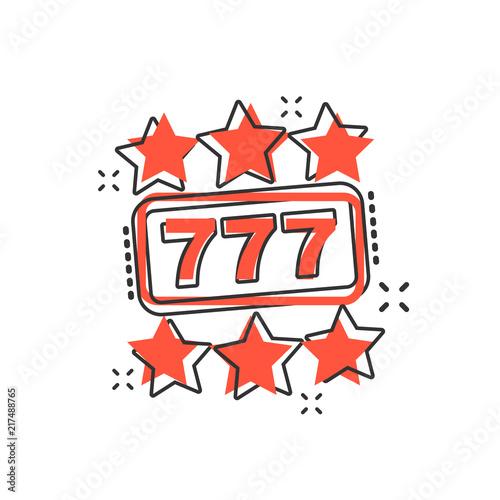 Tela Vector cartoon casino slot machine icon in comic style
