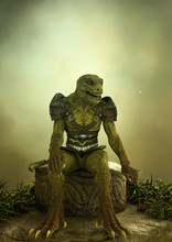 Fantasy Reptilian Warrior Sitt...