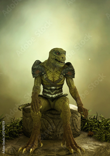 Canvastavla Fantasy reptilian warrior sitting in a stone.