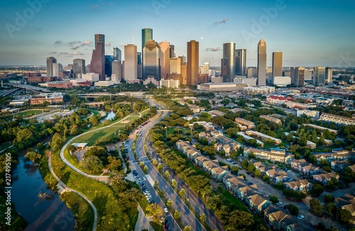 In de dag Texas Houston, Texas Skyline At Sunset