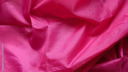 Pink Synthetic Lining Fabric with Folds  Crumpled Sheet or