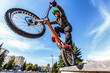 professional BMX rider made tricks on bicycle