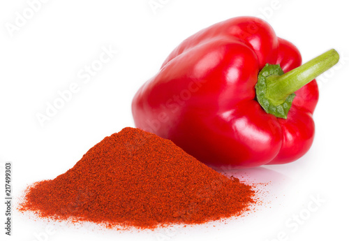 Pile of ground paprika with pepper Fototapet