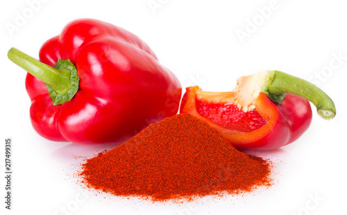 Fototapeta Pile of ground paprika with pepper