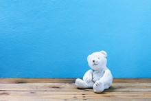 Teddy Bear On Old Wood ,blue W...