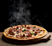Hot Big Pepperoni Pizza Tasty Pizza Composition With Melting Cheese Bacon Tomatoes Ham Paprika Steam Smoke