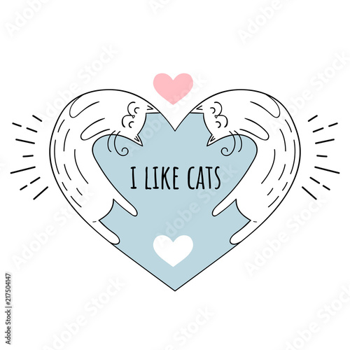 Tela  Vector illustration I love cats