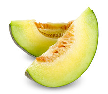Slice Melon Isolated On White Clipping Path