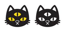 Cat Vector Icon Halloween Cartoon Logo Kitten Calico Character Illustration