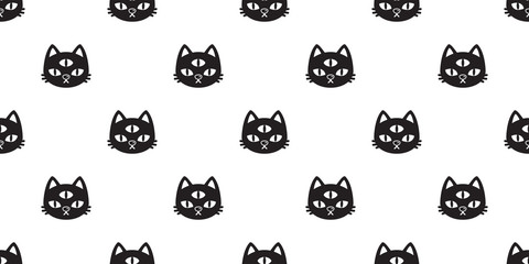 cat Seamless pattern vector halloween kitten three eye calico cartoon tile background scarf isolated repeat wallpaper