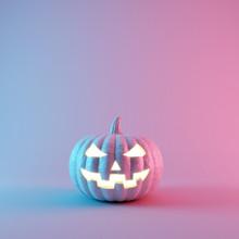 Halloween Pumpkin With Neon Li...