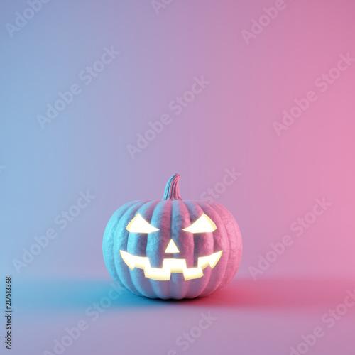Spoed Fotobehang Halloween Halloween Pumpkin with neon lights on pastel colors background. 3d rendering